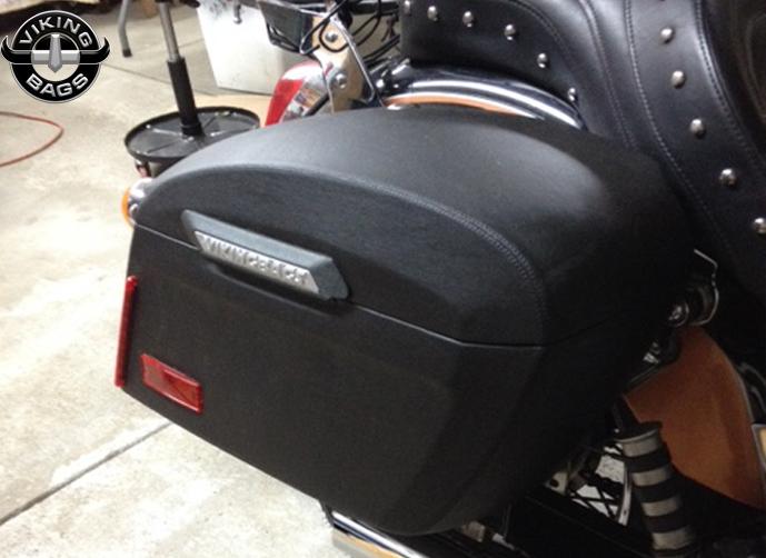 Honda vtx 1300 c lamellar extra large shock cutout leather for Yamaha raider hard saddlebags
