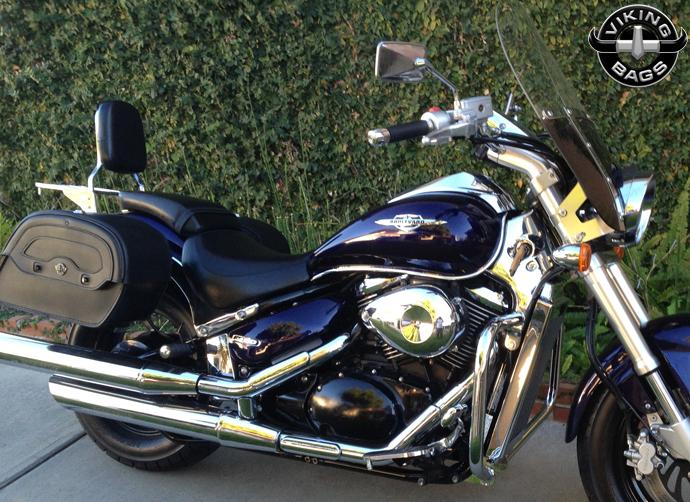 Suzuki boulevard m50 warrior leather saddlebags for Yamaha raider hard saddlebags