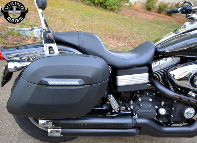 Sportster forty eight bag large viking lamellar leather for Yamaha raider hard saddlebags