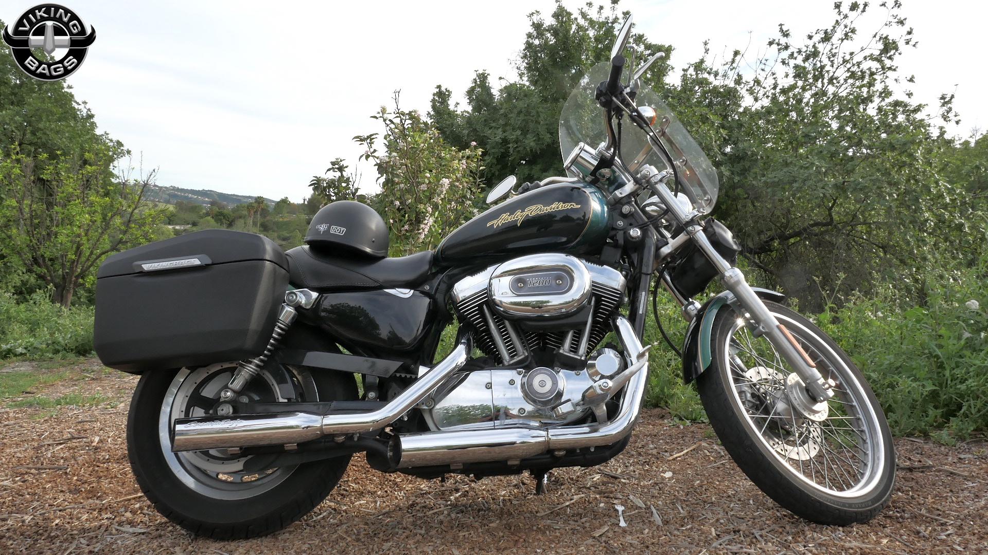 Harley softail slim saddlebags l viking lamellar leather for Motor cycle saddle bags