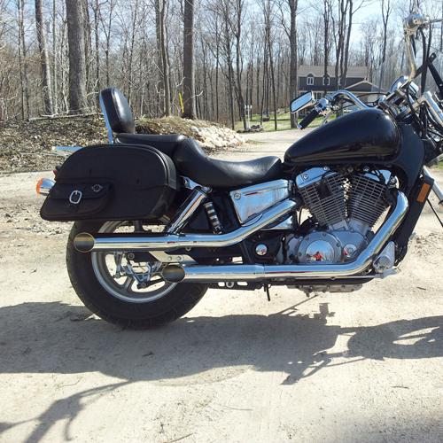 honda 1100 shadow spirit motorcycle saddlebags side pocket leather