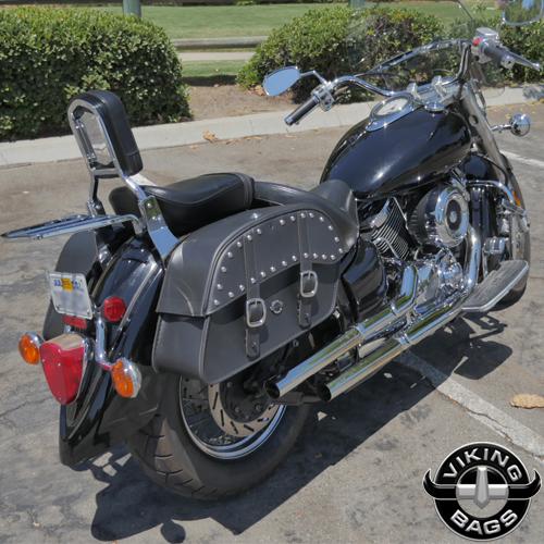 Viking charger slanted studded cruiser motorcycle saddlebags for Yamaha raider hard saddlebags