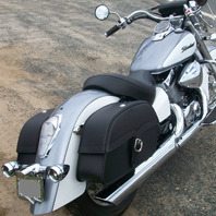 Maria's 2006 Honda 750 Shadow Aero w/ Single Strap Motorcycle Saddlebags