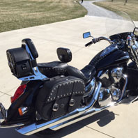 Adam's Honda VTX 1300 R Retro w/ Charger Studded Motorcycle Saddlebags