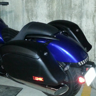 Andre'S '14 Honda Valkyrie w/ Lamellar Leather Wrapped Hard Motorcycle Saddlebags