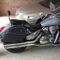 Larry's '05 Honda VTX 1300R w/ Ultimate Shape Studded Motorcycle Saddlebags