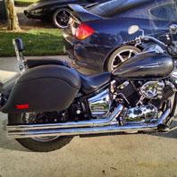 John's Yamaha  V Star 1100 Custom  w/ Lamellar Motorcycle Hard Saddlebags