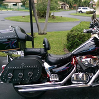 Merle's Honda Shadow Sabre 1100 w/ Trianon Studded Motorcycle Saddlebags