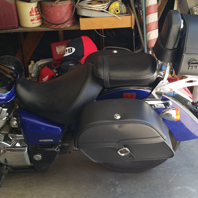 Michael's Honda Shadow Aero w/ Single Strap Motorcycle Saddlebags