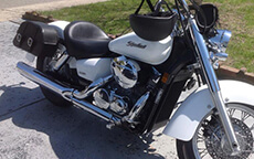 Vickie Wilson's '07 Honda Shadow Aero w/ Charger Motorcycle Saddlebags