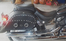 Tony Pockets Hericks' Yamaha V Star w/ Charger Studded Motorcycle Saddlebags
