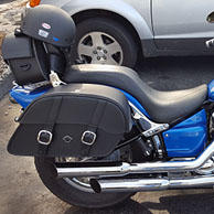 Brian's '09 Yamaha V Star Custom w/ Charger Series Leather Motorcycle Saddlebags